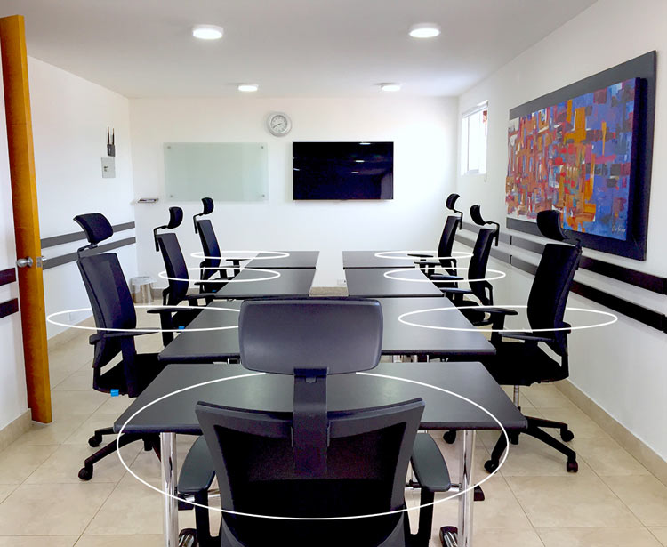 sala de juntas con proyector